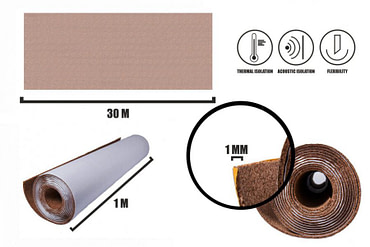 Self-adhesive cork roll 1mm (30m)